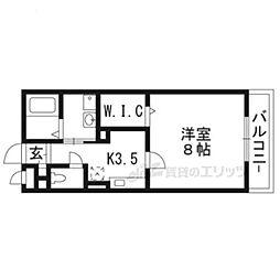 近鉄京都線 小倉駅 徒歩9分の賃貸アパート 2階1Kの間取り