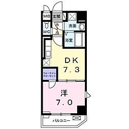 東京都国立市中1丁目の賃貸マンションの間取り