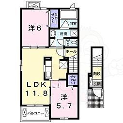 泉北高速鉄道 和泉中央駅 徒歩20分の賃貸アパート 2階2LDKの間取り