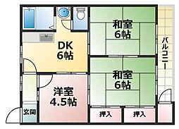 六甲ロイヤルマンション[2階]の間取り
