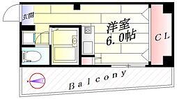 大阪府吹田市長野東の賃貸マンションの間取り