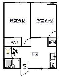 伸晃ハイツ2[2階]の間取り