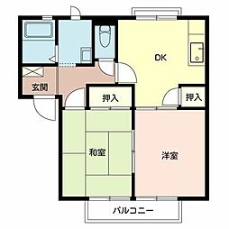 Osaka Metro御堂筋線 新金岡駅 徒歩10分の賃貸アパート 2階2DKの間取り