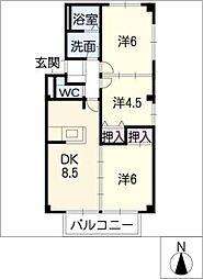 ハレマハロ B棟[1階]の間取り