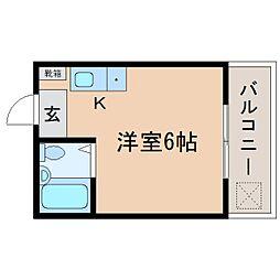 静岡県静岡市駿河区小鹿2丁目の賃貸アパートの間取り
