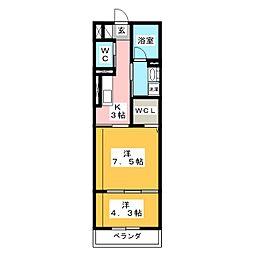 シャーメゾン・ガーレ 2階1LDKの間取り
