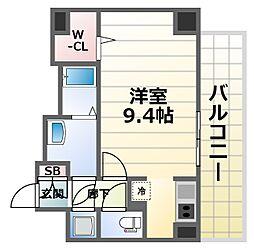 スペーシア江坂南金田 3階1Kの間取り