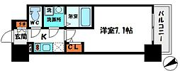 エスリード京橋グランテラス 2階1Kの間取り