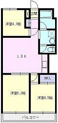 上福岡グロリアハイツ[602号室号室]の間取り