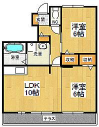 ウィルコート大松B[102号室]の間取り