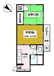 神奈川県横浜市神奈川区神大寺1丁目の賃貸アパートの間取り