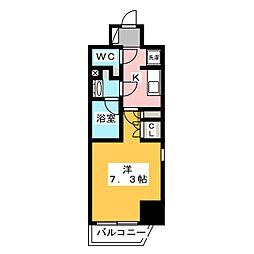 ザ・パークハビオ飯田橋プレイス 9階1Kの間取り