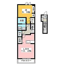 プリムローズA[2階]の間取り