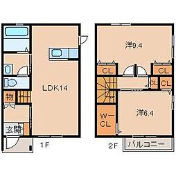 La Ferio古屋 2階2LDKの間取り