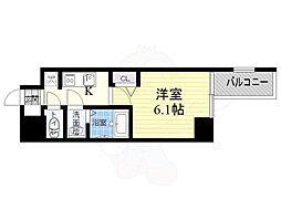 阪神なんば線 九条駅 徒歩3分の賃貸マンション 9階1Kの間取り