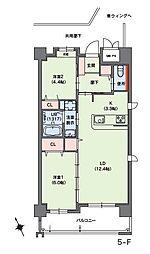 クラシオン小笹山手5番館 4階2LDKの間取り