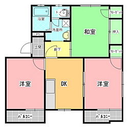 タウニイ・ホリE棟[2階]の間取り