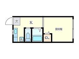 久場アパート[1階]の間取り