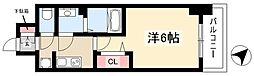 アステリ鶴舞トゥリア 8階1Kの間取り