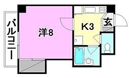 メゾン・ド・内宮 3階1Kの間取り