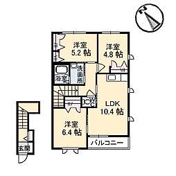 シャーメゾン七宝台[A202号室]の間取り
