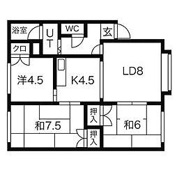 北海道札幌市清田区平岡五条1丁目の賃貸アパートの間取り