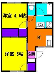 静岡県浜松市中区中島3丁目の賃貸アパートの間取り