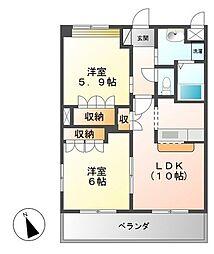 JR日豊本線 国分駅 4kmの賃貸アパート 2階2LDKの間取り
