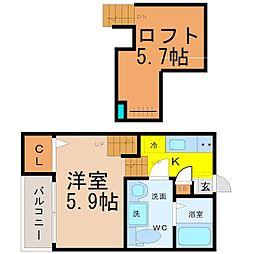 愛知県名古屋市中川区中島新町1の賃貸アパートの間取り