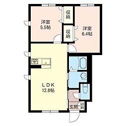 フォレスト 三室[1階]の間取り