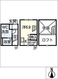 [タウンハウス] 愛知県名古屋市中村区北畑町3丁目 の賃貸【/】の間取り