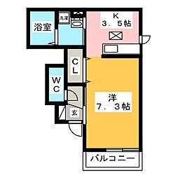 プリムヴェール 弐十弐番館 1階1Kの間取り