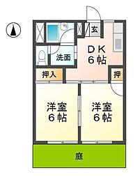 愛知県稲沢市木全5丁目の賃貸アパートの間取り