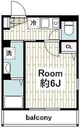 JR横須賀線 保土ヶ谷駅 徒歩15分の賃貸アパート 3階1Kの間取り