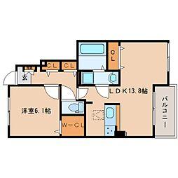 奈良県香芝市下田東の賃貸アパートの間取り