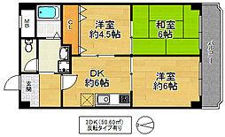 ホワイトシャンボール 4階3DKの間取り