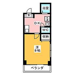 オリーブハウス 3階1Kの間取り