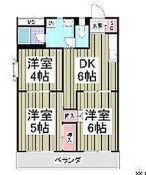 埼玉県鶴ヶ島市富士見4丁目の賃貸マンションの間取り