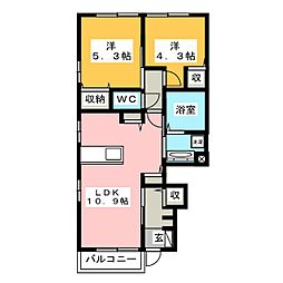 愛知県豊橋市大崎町字浪入の賃貸アパートの間取り