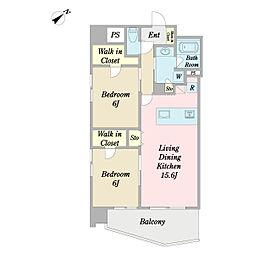 (仮称)中区山下町計画 9階2LDKの間取り
