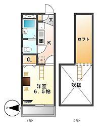 レオパレスセブンハート[2階]の間取り