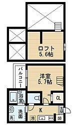 愛知県名古屋市中村区塩池町1丁目の賃貸アパートの間取り