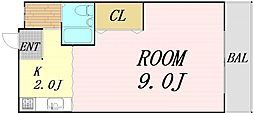 松本マンション 3階1Kの間取り