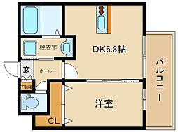 近鉄南大阪線 高鷲駅 徒歩7分の賃貸アパート 1階1DKの間取り