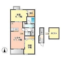 愛知県北名古屋市徳重米野の賃貸アパートの間取り