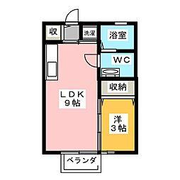 静岡県静岡市駿河区西脇の賃貸アパートの間取り