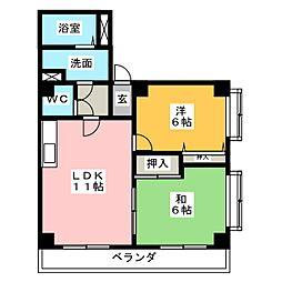 サンクオリティ鶴里[1階]の間取り