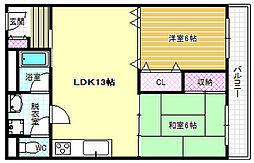 KRグランドイン 2階2LDKの間取り
