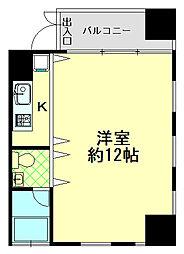 阪神本線 青木駅 徒歩11分の賃貸マンション 4階ワンルームの間取り