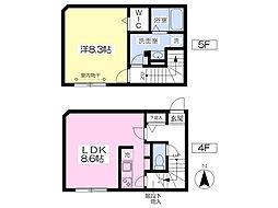 西武新宿線 新井薬師前駅 徒歩9分の賃貸マンション 4階1LDKの間取り